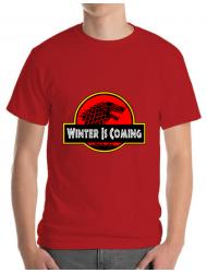 Tricou ADLER barbat Jurassic winter Rosu