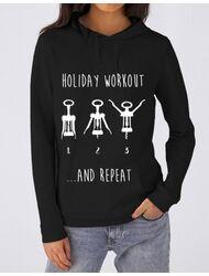 Hoodie dama cu gluga Holiday workout Negru