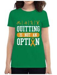 Tricou ADLER dama Quitting is not an option Verde mediu