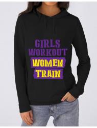 Hoodie dama cu gluga Women train Negru