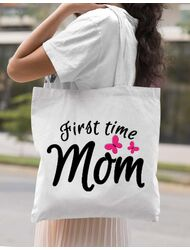 Sacosa din panza First time mom Alb