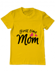 Tricou ADLER barbat First time mom Galben