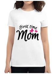 Tricou ADLER dama First time mom Alb