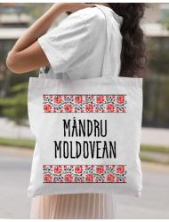 Sacosa din panza Mandru moldovean Alb