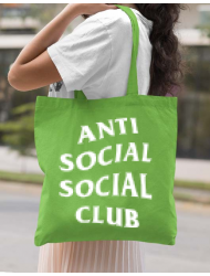 Sacosa din panza Anti social Verde mar