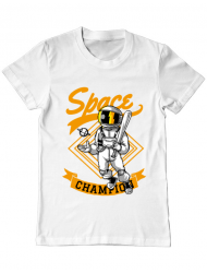 Tricou ADLER barbat Space champion Alb
