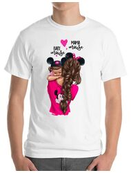 Tricou ADLER barbat Mama and baby Mouse Alb