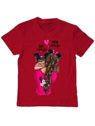 Tricou ADLER copil Mama and baby Mouse Rosu