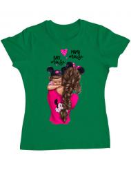 Tricou ADLER dama Mama and baby Mouse Verde mediu