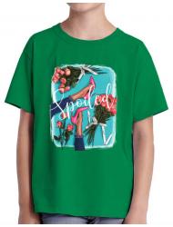 Tricou ADLER copil High Heels and roses Verde mediu