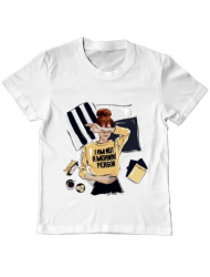 Tricou ADLER copil I am not a morning person Alb