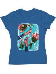 Tricou ADLER dama High Heels and roses Albastru azuriu