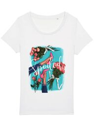 Tricou STANLEY STELLA dama High Heels and roses Alb