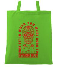 Sacosa din panza Born to stand out Verde mar