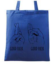Sacosa din panza Good luck Albastru regal