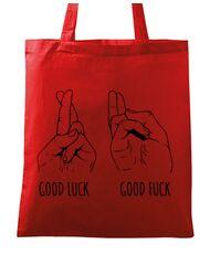 Sacosa din panza Good luck Rosu
