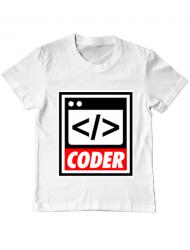 Tricou ADLER copil Coder Alb