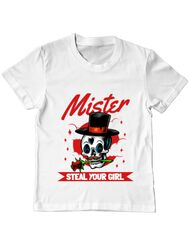 Tricou ADLER copil Mr. steal your girl Alb