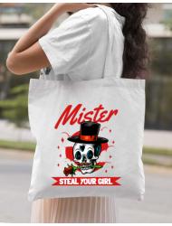Sacosa din panza Mr. steal your girl Alb