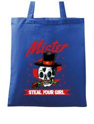 Sacosa din panza Mr. steal your girl Albastru regal