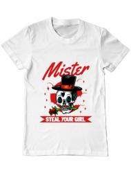 Tricou ADLER barbat Mr. steal your girl Alb