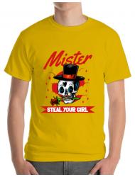 Tricou ADLER barbat Mr. steal your girl Galben