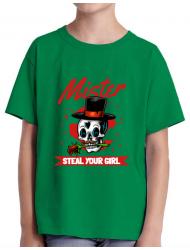 Tricou ADLER copil Mr. steal your girl Verde mediu