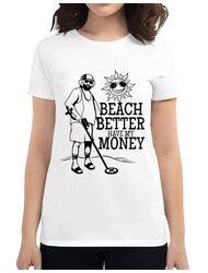 Tricou ADLER dama Beach better have my money Alb