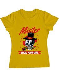 Tricou ADLER dama Mr. steal your girl Galben
