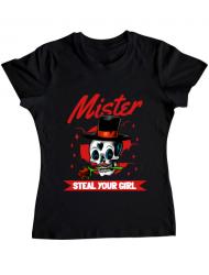 Tricou ADLER dama Mr. steal your girl Negru