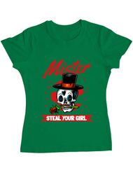 Tricou ADLER dama Mr. steal your girl Verde mediu