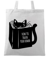 Sacosa din panza How to train your human Alb