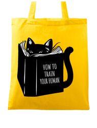 Sacosa din panza How to train your human Galben