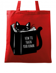 Sacosa din panza How to train your human Rosu