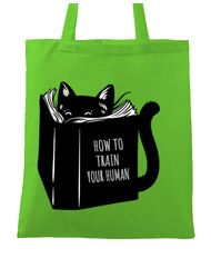 Sacosa din panza How to train your human Verde mar