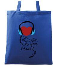 Sacosa din panza Listen to your heart Albastru regal