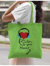 Sacosa din panza Listen to your heart Verde mar
