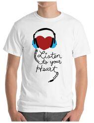 Tricou ADLER barbat Listen to your heart Alb