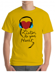 Tricou ADLER barbat Listen to your heart Galben