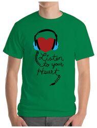 Tricou ADLER barbat Listen to your heart Verde mediu
