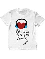 Tricou ADLER copil Listen to your heart Alb