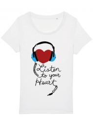 Tricou STANLEY STELLA dama Listen to your heart Alb