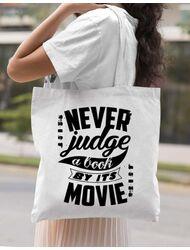Sacosa din panza Never judge a book Alb