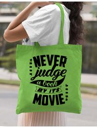 Sacosa din panza Never judge a book Verde mar