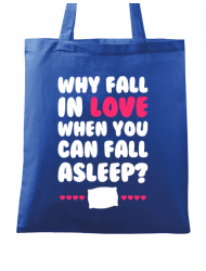 Sacosa din panza Why fall in love Albastru regal