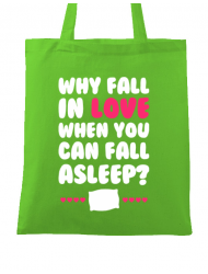 Sacosa din panza Why fall in love Verde mar