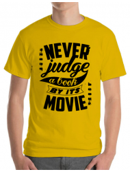 Tricou ADLER barbat Never judge a book Galben