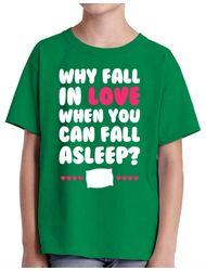 Tricou ADLER copil Why fall in love Verde mediu