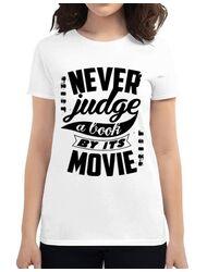 Tricou ADLER dama Never judge a book Alb