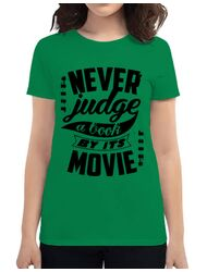 Tricou ADLER dama Never judge a book Verde mediu